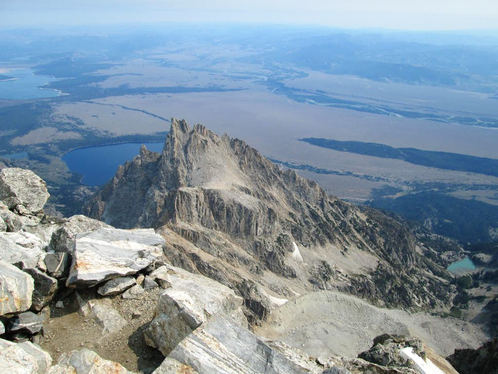 Teewinot seen from the summit of the Grand Teton