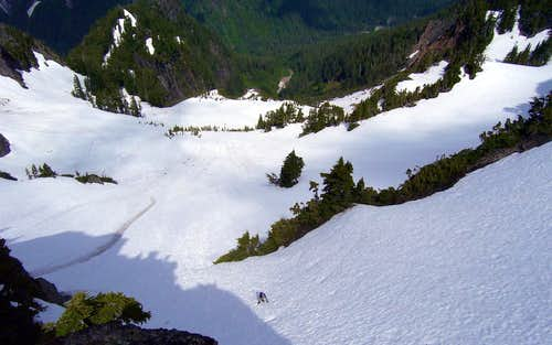 Last steep snow scramble as seen from Jumbo Mountain summit