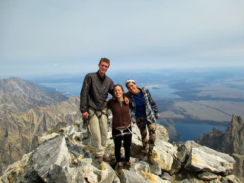 Myself and my friends Naomi and Nadine on the summit of the Grand Teton