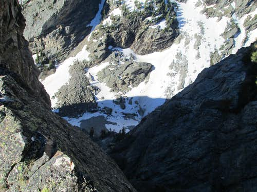 The long drop into Garnet Canyon seen from the southeast ridge of Disappointment Peak