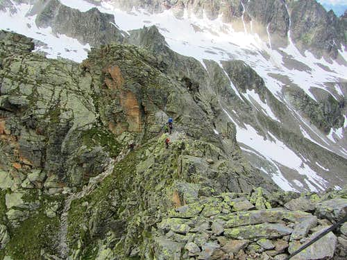 Looking down from the Kleinlitzner summit to the saddle at the bottom of the final scramble