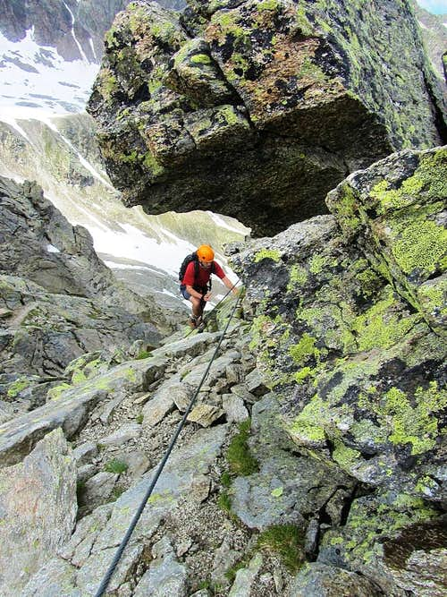 A solo climber on the final meters of the Kleinlitzner via ferrata