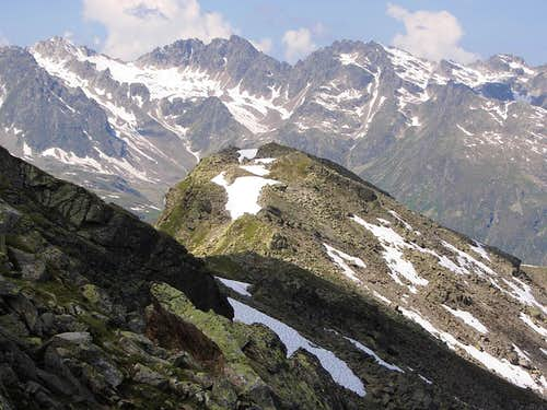 Looking down on the Bielerspitze from the east ridge
