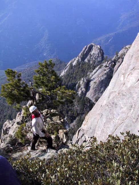 Crossing the rock rib between...