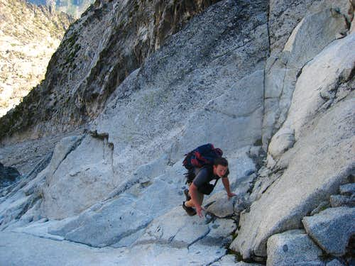 Josh Lewy climbing the slabs in the gully