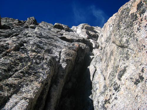 Climbing the wide but easy crack