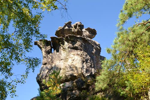 A natural sandstone boulder shaped like a tea-pot...
