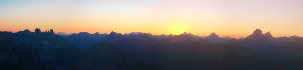 Sunset panorama of the North Cascades