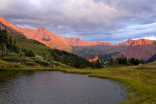 Maroon Peak and Fravert Basin at Sunset