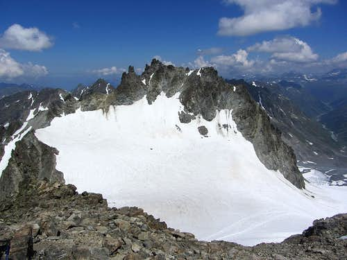 The Vordere Jamspitze (3178m) from the summit of the Hintere Jamspitze (3156m)