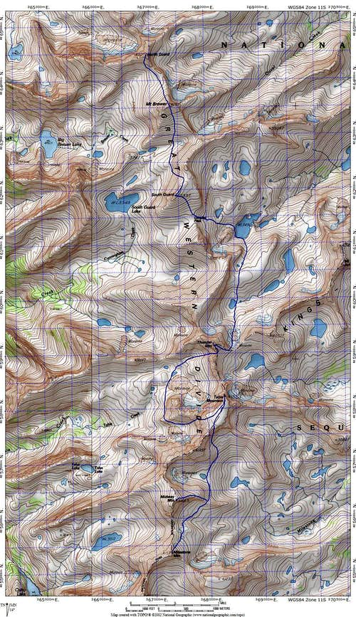 Route Map for Great Western Divide Traverse