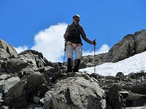 Hermann descending the Hintere Jamspitze