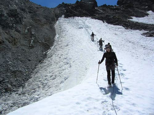 At the bottom of the steep pass SSW of the Vordere Jamspitze to the upper Jamtal glacier