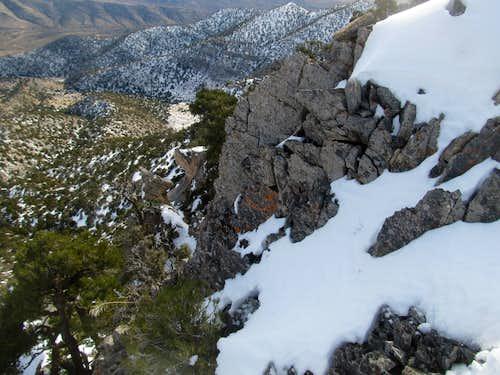 exposure on East Ridge descent