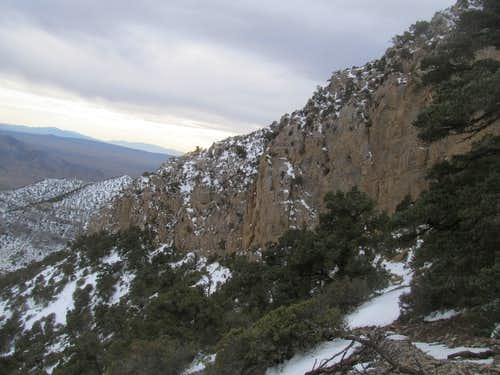 view of the crux\'s cliff bands