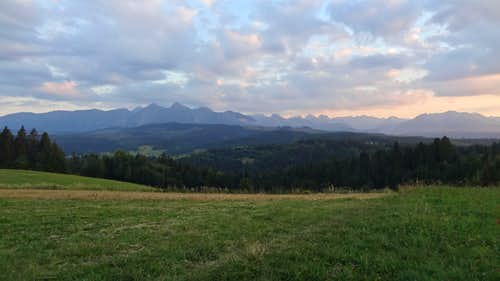 Evening panorama from Przełęcz nad Łapszanką