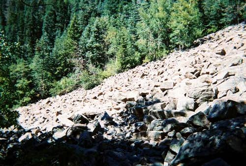 The rock scree slope.