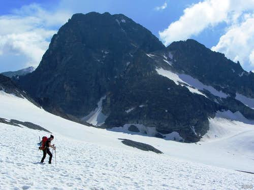 Jannie on the Vermunt Gletscher, with Piz Buin towering behind her