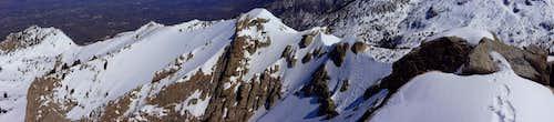 Lone Peak, north summit ridge pano.