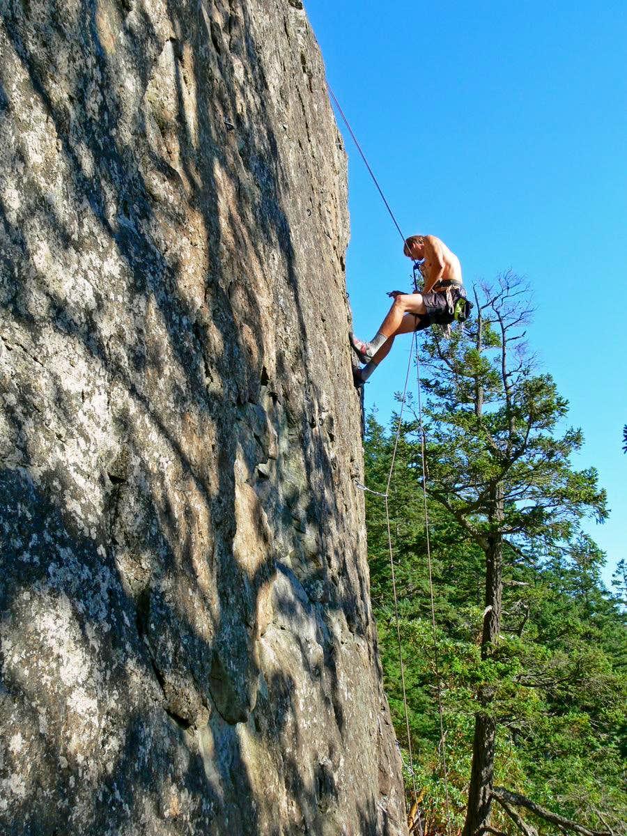 Matt Lemke Rappelling on Mount Erie