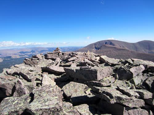 The summit cairn on Roberts Peak