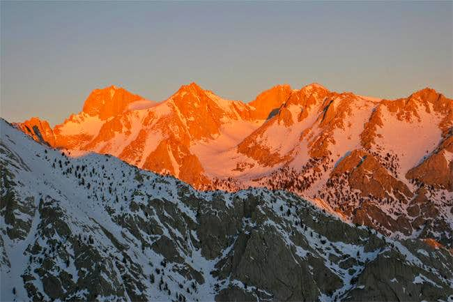 Morning alpenglow over the...