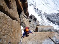 climbing the Bonatti-Oggioni on the Red Pillar of Brouillard
