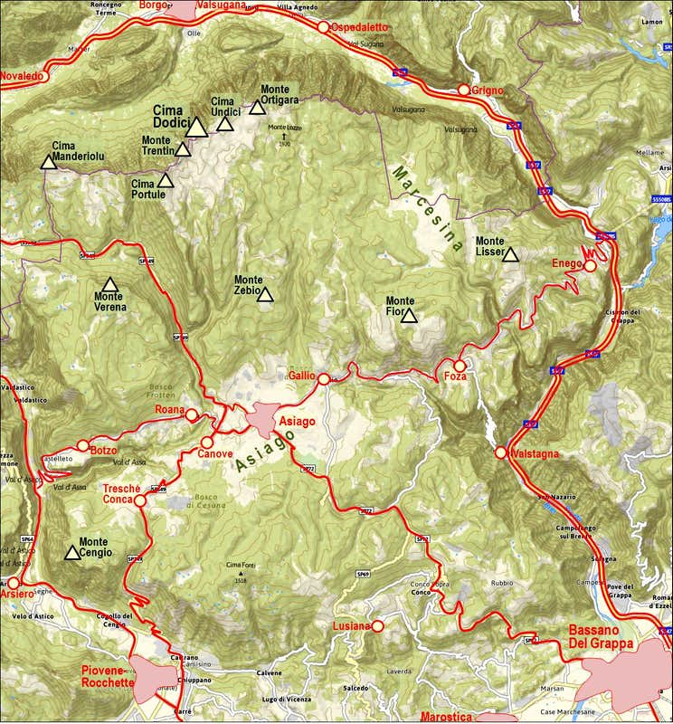 Asiago Plateau map