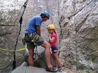 Getting Ready for Her First Rock Climb