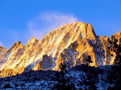 MIddle Palisade Morning Alpenglow w Snow