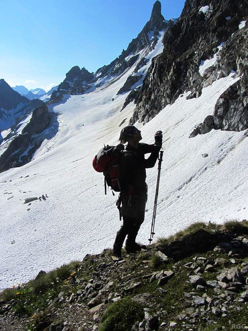 Wilco on the Seelücke, with Großlitzner (3109m) in the background
