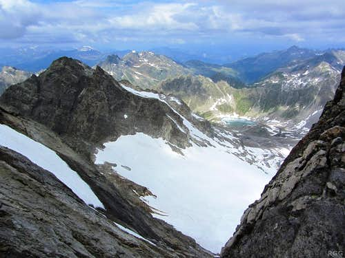 View from the flanks of Gross Seehorn, with Chlein Seehorn left, and the Schottensee deep down below