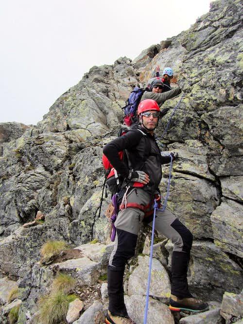 Down climbing Gross Seehorn