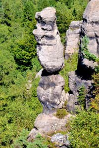 Queerly shaped sandstone towers in the Jonsdorfer Felsenstadt