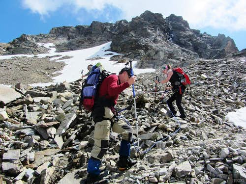 On the scree above the Buinlücke, high on Piz Buin