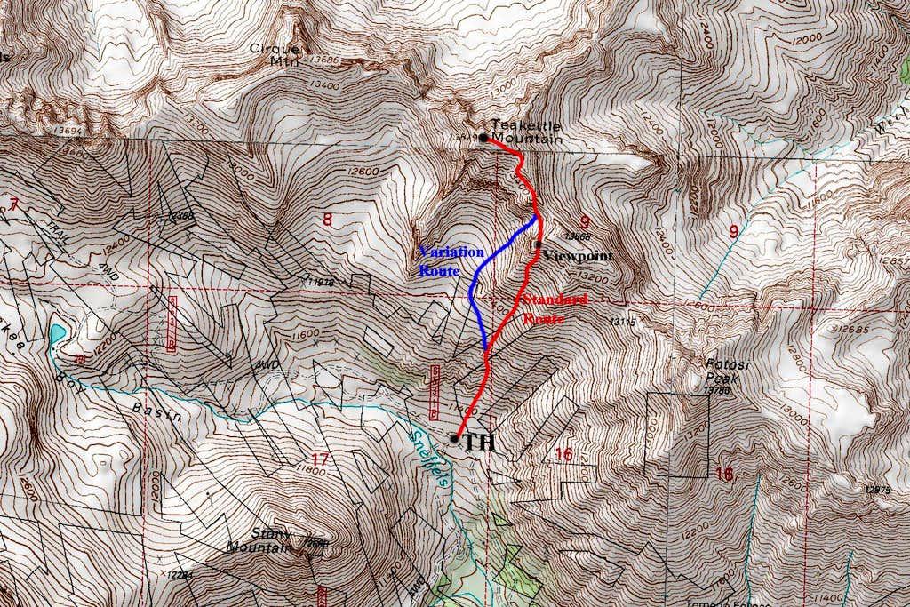 Teakettle Mountain Topo Map
