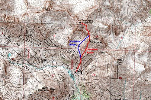 Teakettle Mountain Topo Map