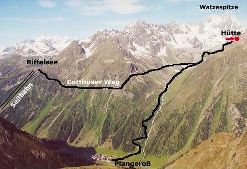 The route to the Kaunergrat...