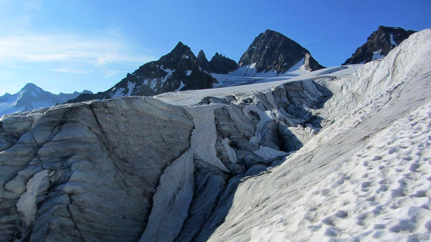 The Ochsentaler Glacier, with Wiesbadener Grätle, Piz Buin and Kleiner Piz Buin