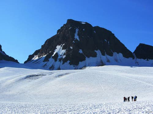 A group of mountaineers on the Ochsentaler Glacier