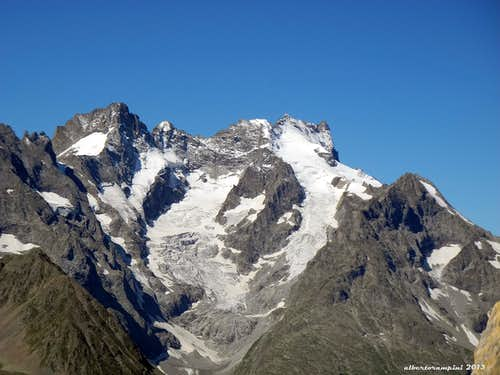 The massif of Ecrins in front of Tete Colombe