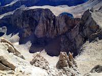 Looking down the East Ridge