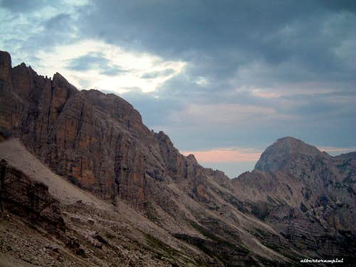 Stormy sunset in upper Val d'Ambiez