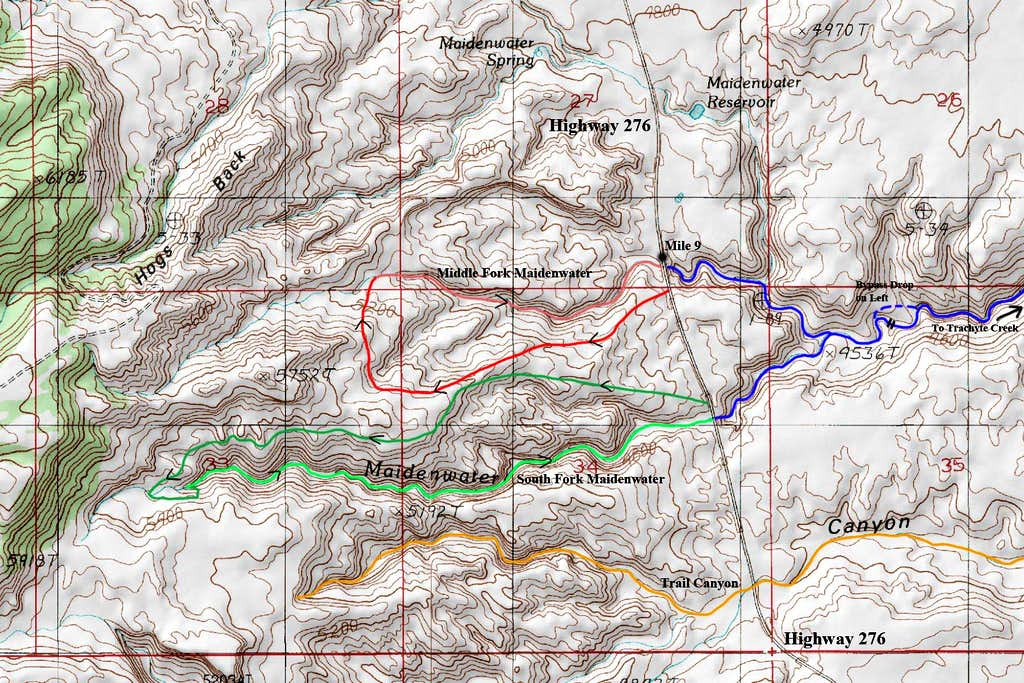 Maidenwater Canyons Map