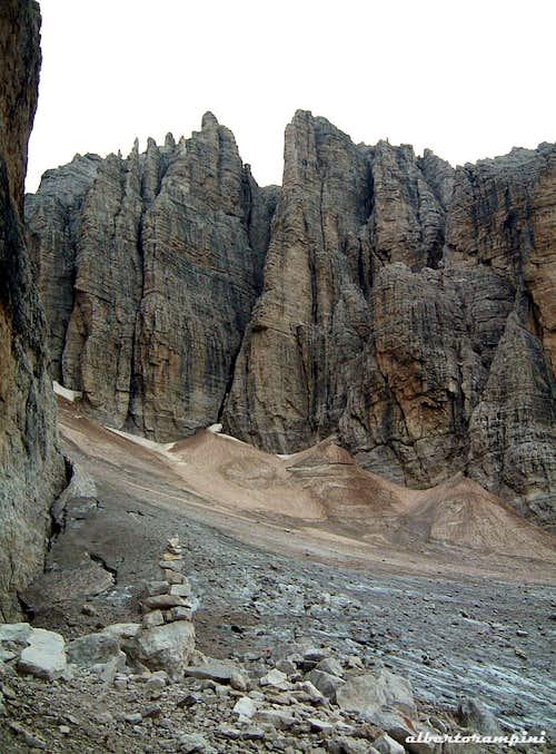 Amazing rocky pillars in upper Val d'Ambiez