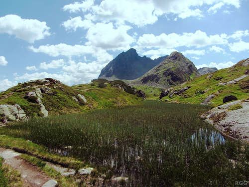 An overgrown high alpine pond on the broad east ridge of the Breitspitze, with the Ballunspitze looming in the background