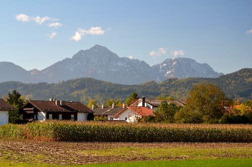 Hochstaufen and Zwiesel seen in autumn from Ainring, Bavaria