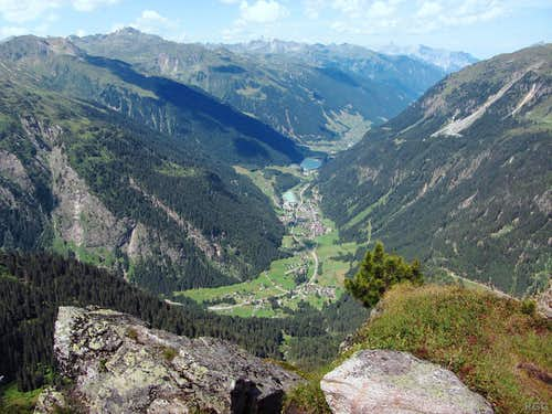 Looking down from the Breitspitze on the village of Partenen, more than 1000 m below