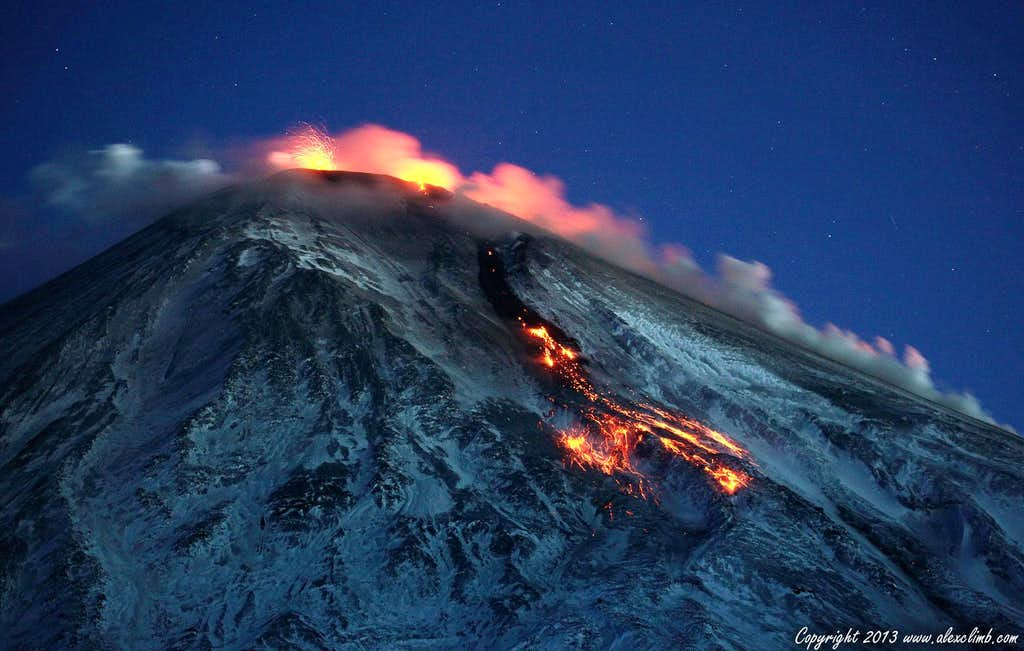 Night view of the Kluchevskaya Sopka eruption