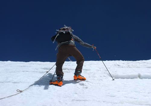 Mustagh Ata climbing ice step